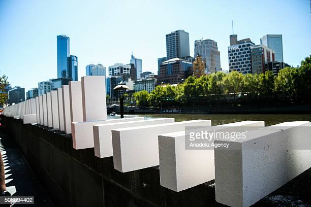 Large Dominoes being setup during the Arts Centre Melbournes Dominoes arts project in Melbourne Australia February 6 2016 More than 7000 giant...