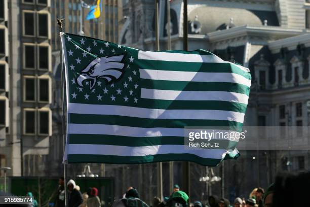 A large Eagles flag during the Philadelphia Eagles Super Bowl Victory Parade on February 8 2018 in Philadelphia Pennsylvania