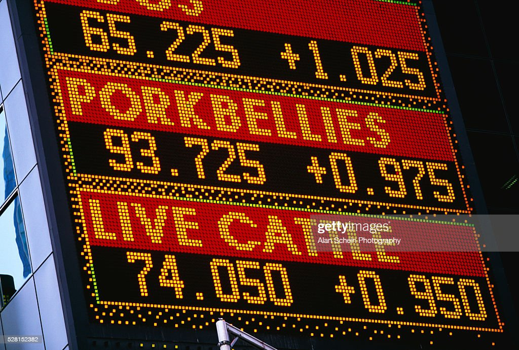 Large Electronic Sign Showing Meat Commodities Photo - Getty