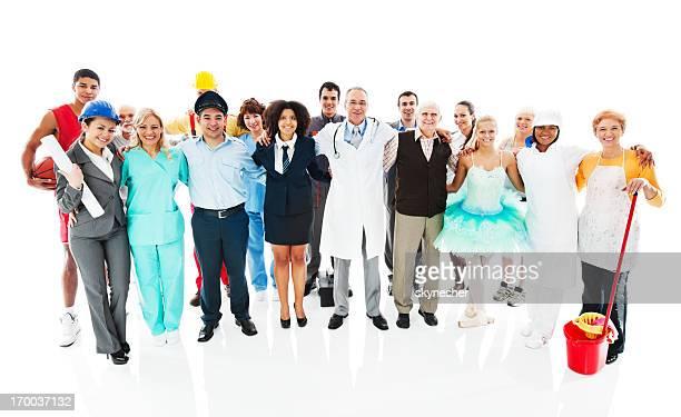 Große erfreut Gruppe von verschiedenen Berufe Personen.