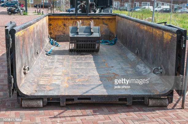 large empty dump steel container - industrial storage bins stock pictures, royalty-free photos & images