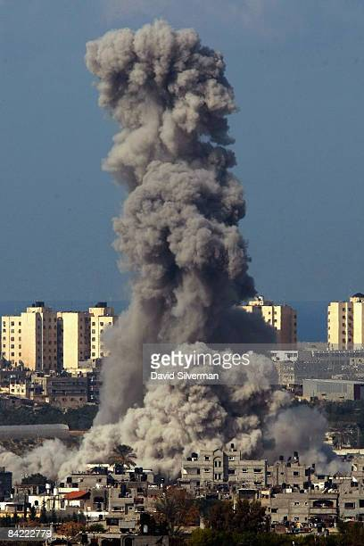 A large explosion rocks the northern Gaza Strip during an Israeli Air Force attack against the Palestinian town of Beit Hanoun January 9 2009 as seen...