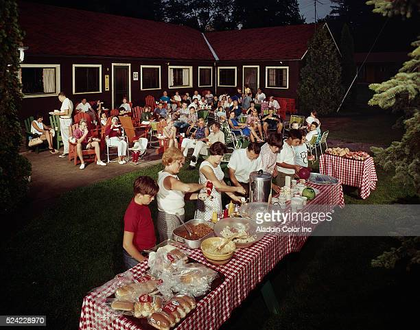 Large family backyard barbecue