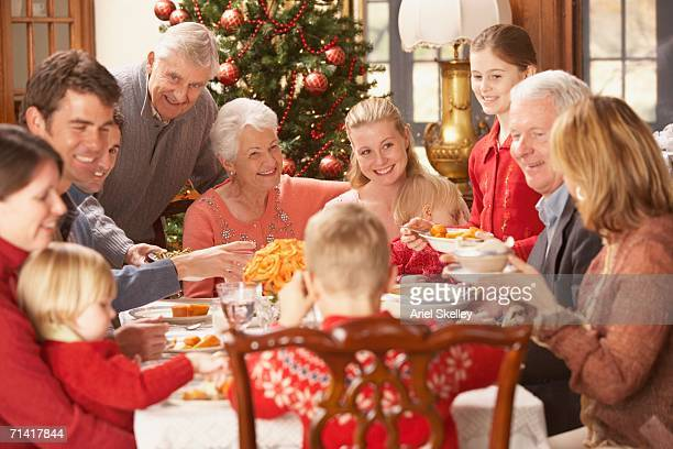 Large family eating Christmas dinner