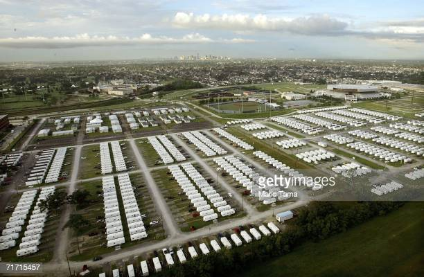 A large FEMA trailer park is seen next to the University of New Orleans campus in the Lakeview area August 25 2006 in New Orleans Louisiana The first...