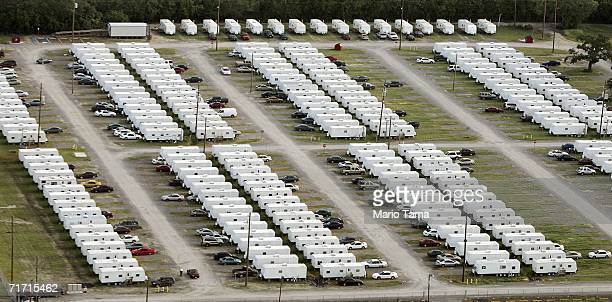 Large FEMA trailer park is seen next to the University of New Orleans campus in the Lakeview area August 25, 2006 in New Orleans, Louisiana. The...