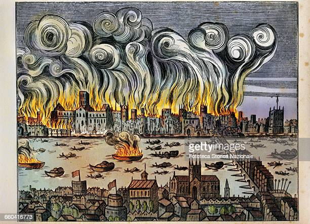 A large fire breaks out in London in the house of the baker of Charles II of England Pudding Lane near London Bridge The fire rages for three days...