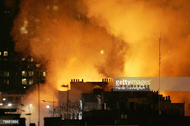 A large fire breaks out in the historic Camden Market area of London on February 9 2008 in London England 20 fire engines were in attendance with...