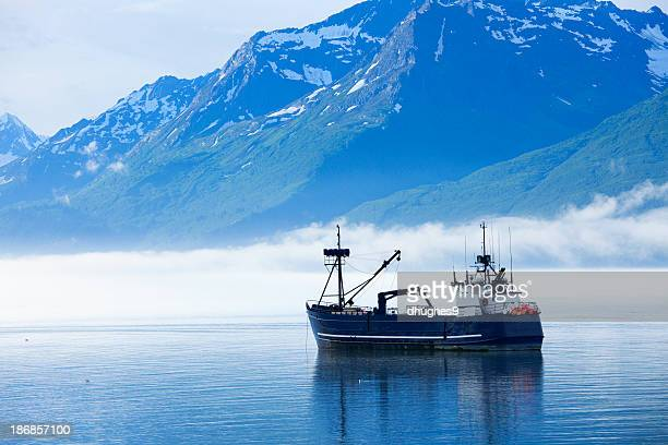 Large fishing boat anchored in Valdez, Alaska bay