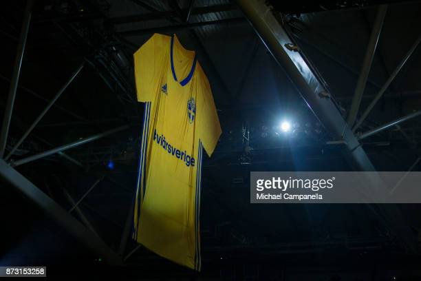 A large flag Swedish jersey hangs from the roof of during the FIFA 2018 World Cup Qualifier PlayOff First Leg between Sweden and Italy at Friends...