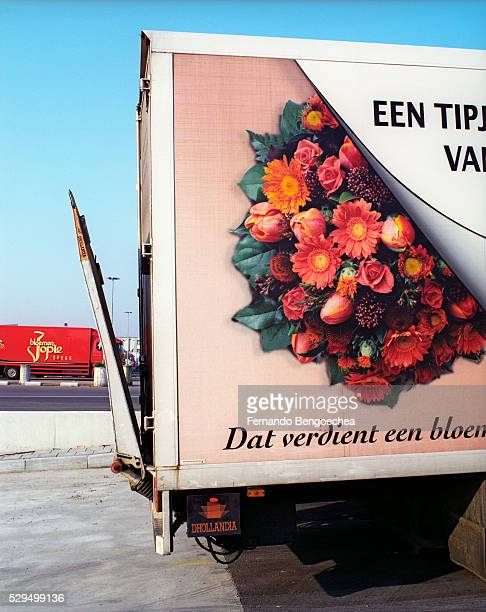 large flower delivery truck - fernando bengoechea stock pictures, royalty-free photos & images