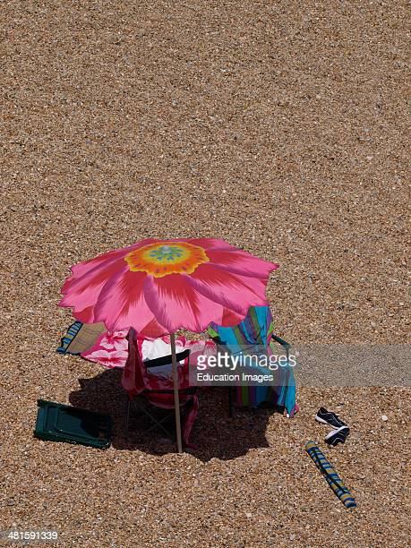 Large Flower Patterned Sun Umbrella At The Beach Devon Pictures Getty Images