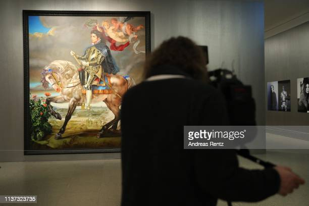 Large format prints by artist Kehinde Wiley shows Michael Jackson on a horse pictured during the preview of the exhibition 'Michael Jackson On the...
