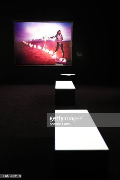 Large format prints by David LaChapelle titled 'American Jesus' pictured during the preview of the exhibition 'Michael Jackson On the Wall' at...