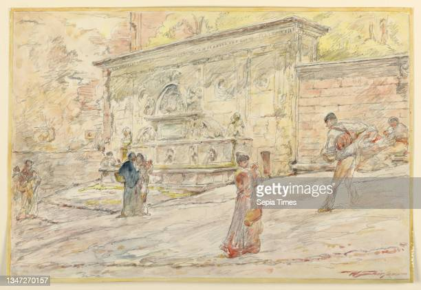 Large Fountain, Walter Shirlaw, American, b. Scotland, 1838–1909, Brush and watercolor, graphite on paper, A large fountain with figures in...