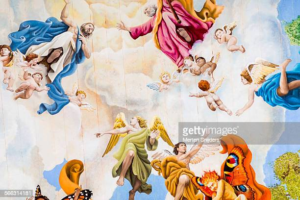 large fresco's on church ceiling - angel stock pictures, royalty-free photos & images