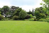 Large garden lawn turf like bowling green, shrubs, flowers, trees
