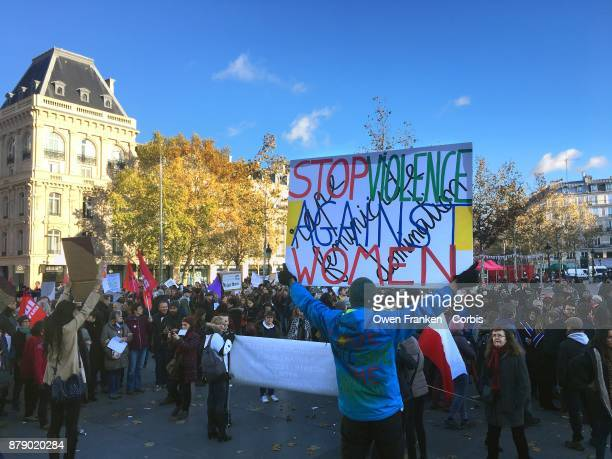 A large gathering of men and women get together in Place de la Republique to rally against sexual and child harassement as part of the #Metoo...