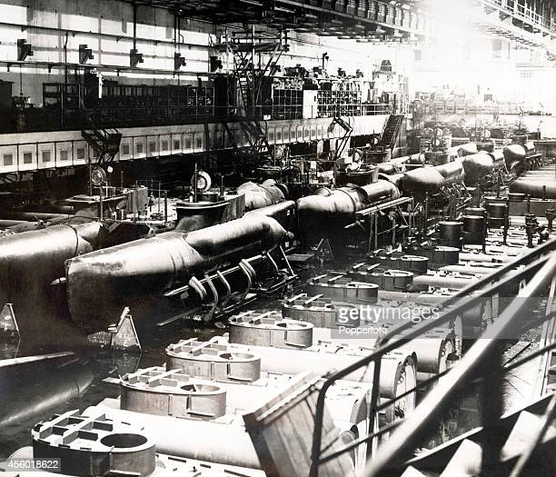 A large German factory where twomen Uboats known as midget submarines were assembled during the closing months of the war circa 1945