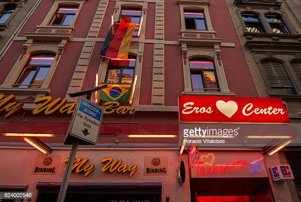 A large German flag hangs from one of the balconies of a brothel in the red light district of Frankfurt Germany 26 June 2014 on occasion of the...
