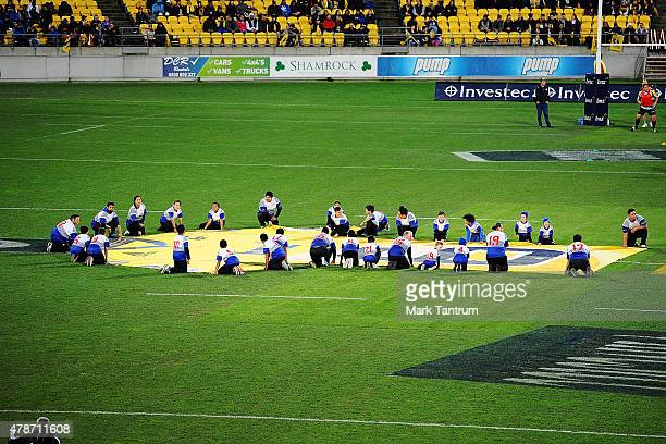 A large gersey is laid out in honour of Jerry Collins before the Super Rugby Semi Final match between the Hurricanes and the Brumbies at Westpac...