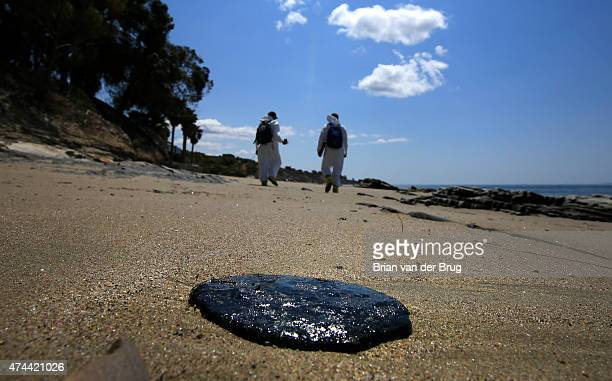 A large glob of oil on the beach at Arroyo Quemado in the aftermath of the oil spill on the May 22 2015 along the Gaviota coast in Santa Barbara...