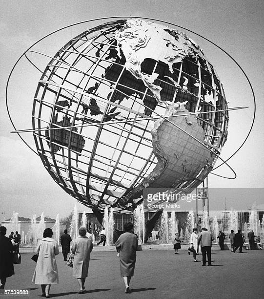 Large globe model outdoors, (B&W)