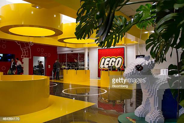A large goat made of Duplo toy bricks stands in the reception area at the headquarters of Lego A/S in Billund Denmark on Wednesday Feb 25 2015 Lego...