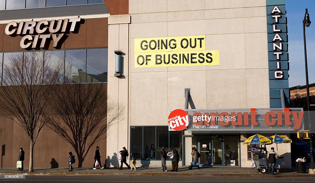 A Large Going Out Of Business Sign Hangs Over Circuit City Store