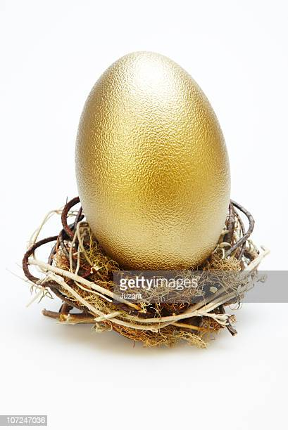 Large gold egg in a small nest
