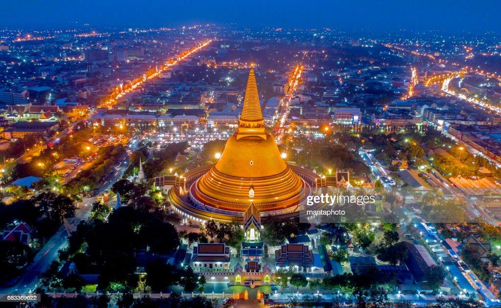 Large golden pagoda Thailand : Stock Photo