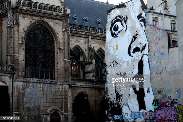 Large graffiti of a face in Paris France on November 25 2017