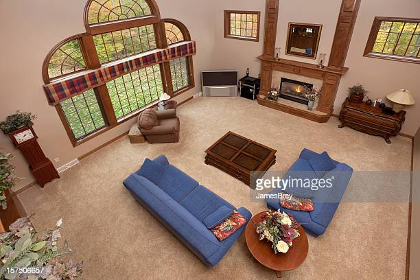 Large Great Room Looking Down, Blue Sofa, Love Seat, Fireplace