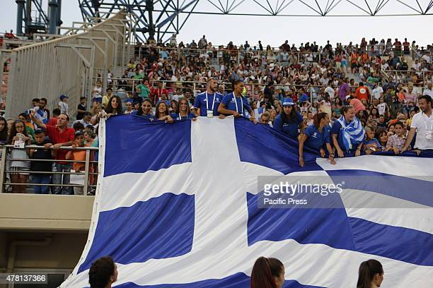 STADIUM HERAKLION ATTICA GREECE A large Greek flag has been drapped on the main stands The last day of the 2015 European Athletics Team Championships...