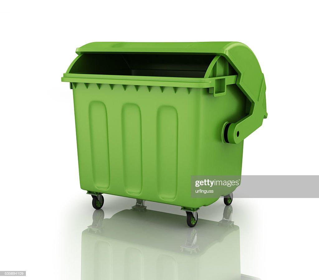 large green recycling bin : Stock Photo