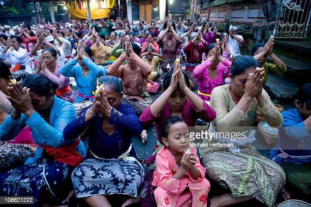 large group at religous ceremony, Ubud,Bali.