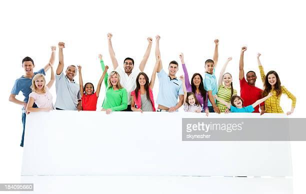Große Gruppe der holding big white paper.