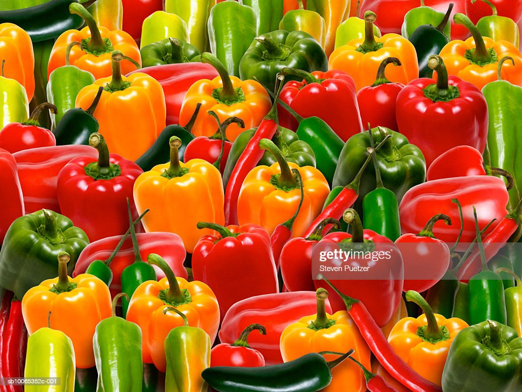 Large group of assorted peppers : Foto stock