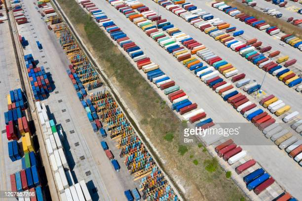 large group of cargo containers, aerial view - food distribution stock pictures, royalty-free photos & images
