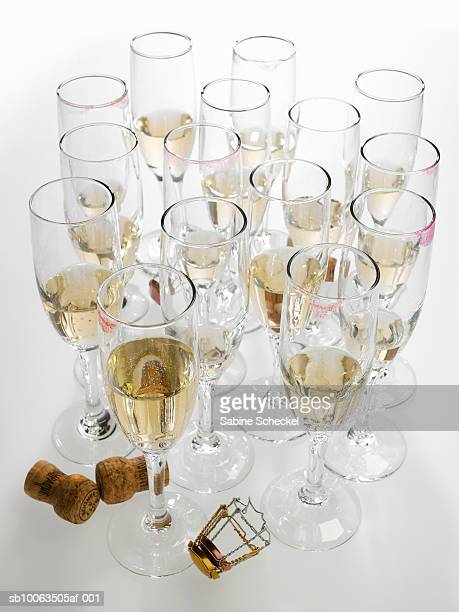 Large group of champagne glasses with lipsticks marks