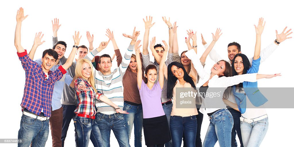 Grande gruppo di allegro giovani adulti. : Foto stock