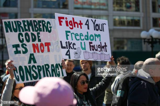 """Large group of crowds gather at the Union Square as a """"Freedom Rally"""" to protest anti-vaccine and anti-mask in New York City, United States on March..."""