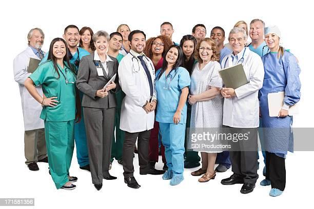 Large group of doctors, nurses, hospital staff isolated on white