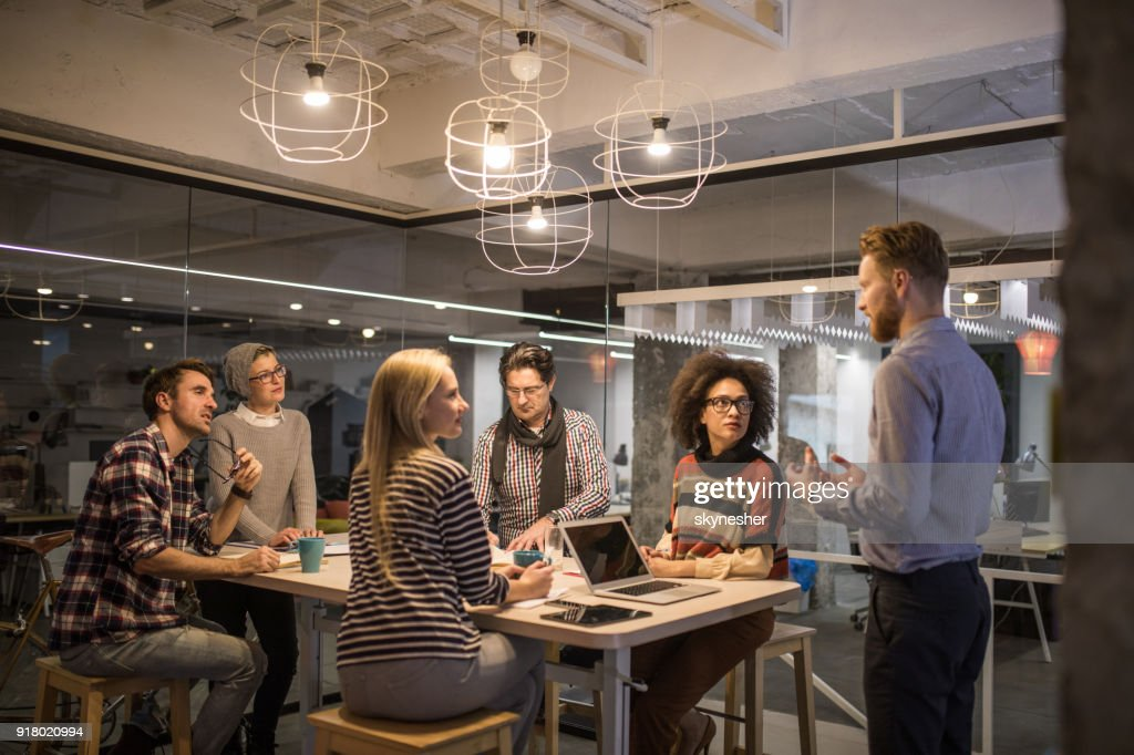 Large group of entrepreneurs having a constructive meeting in the office. : Stock Photo