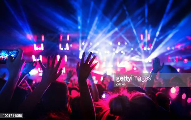 grand groupe de fans lors d'un concert. - scène urbaine photos et images de collection