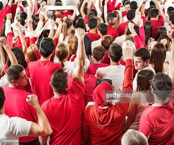 large group of fans cheering. - gemengde leeftijdscategorie stockfoto's en -beelden