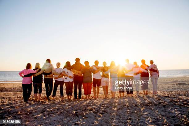 Large group of friends arm in arm on the beach in sunlight