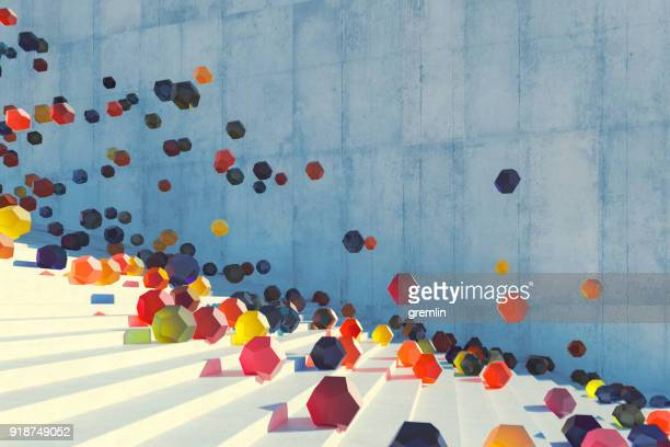 large group of glowing elements falling down the urban concrete stairs - bouncing ball stock photos and pictures