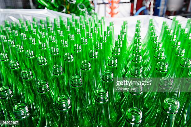 Large group of green bottles
