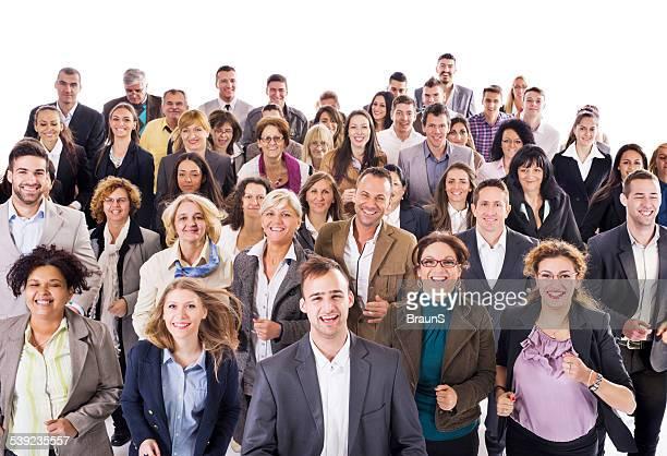 Große Gruppe von glückliche Unternehmen Menschen laufen zusammen.